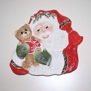 Fitz & Floyd Santa Teddy Bear Christmas Plate Dish